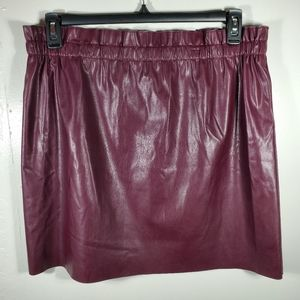 Loft Faux leather NWT Wine paperbag skirt LG